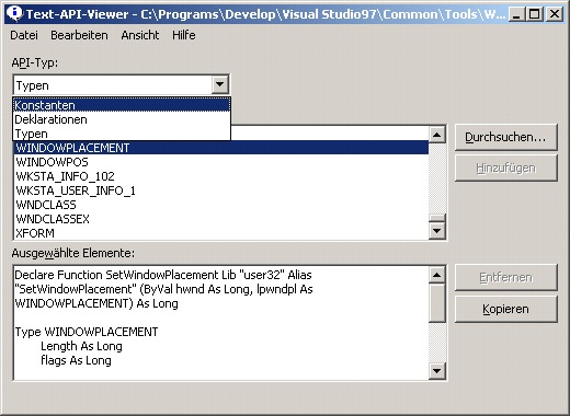 Abbildung 1: API-Viewer aus Office 97 DE